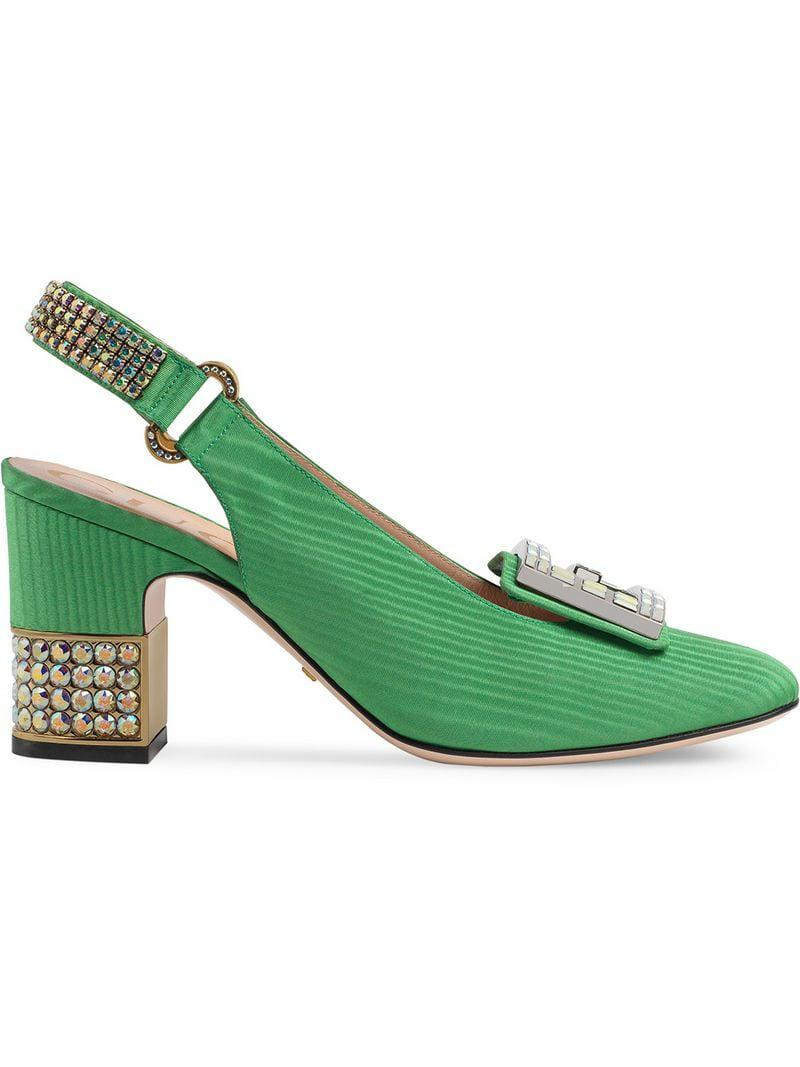 6c467162fea83 Lyst - Gucci Moiré Mid-heel Pump With Crystal G in Green