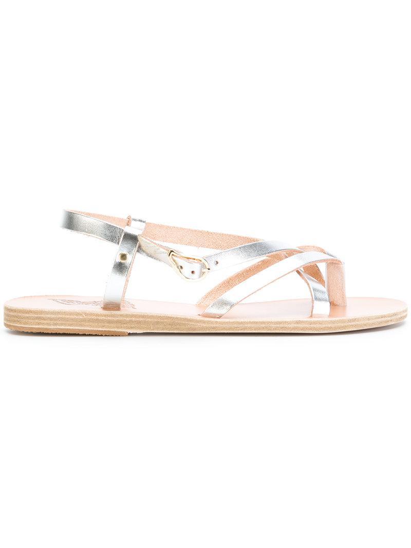 Ancient Greek Sandals Sandali piatti 'Niove' - Metallic farfetch beige Descuento Extremadamente Tienda vsja1luO