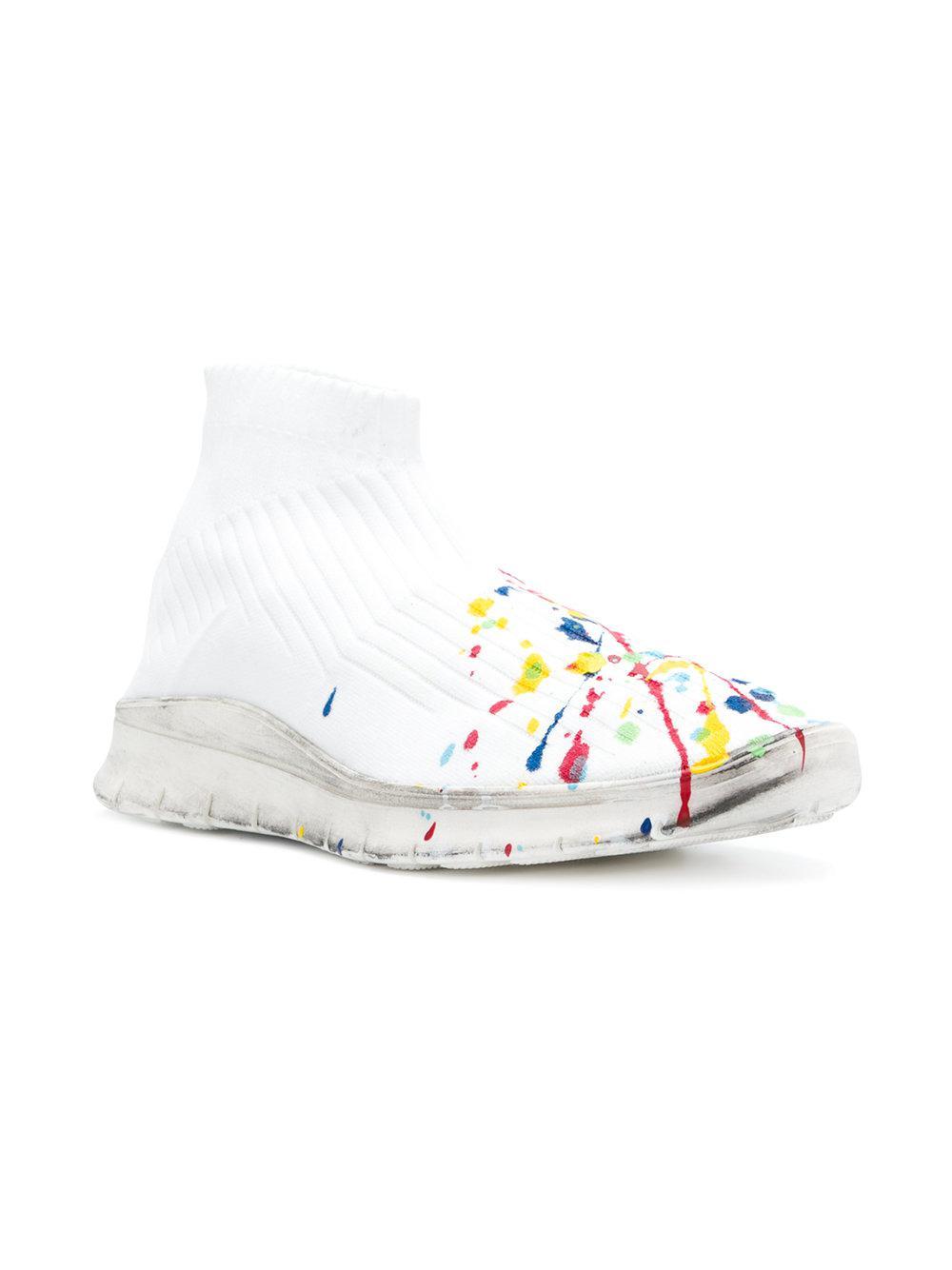 2d9ac3fef403d Lyst - Baskets à effet taches de peinture Maison Margiela pour homme en  coloris Blanc