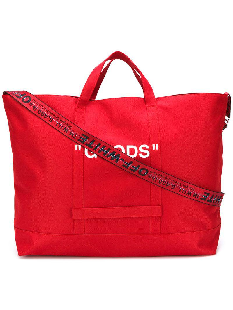4640cfa6687cc Lyst - Off-White c o Virgil Abloh Oversized Quote Bag in Red for Men