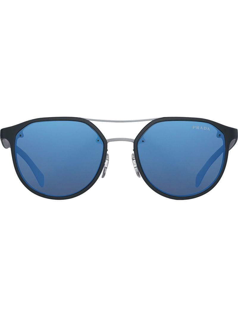 71ae493faa2 Prada - Black Round-frame Sunglasses for Men - Lyst. View fullscreen