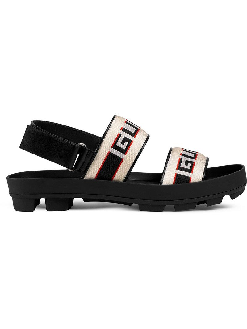 f5cf5a6d7ac Gucci Stripe Strap Sandal in Black for Men - Save 10% - Lyst