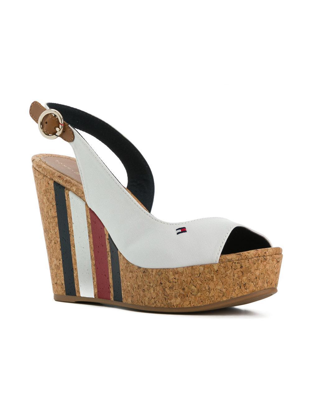 3da7d3f5a20 Tommy Hilfiger Striped Wedge Heel Sandals in White - Lyst