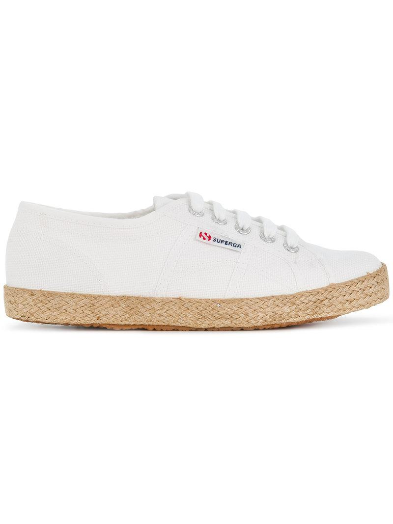 low top woven sole sneakers - White Superga