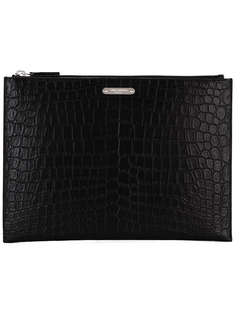 9bbec1407b Lyst - Saint Laurent Id Tablet Holder Pouch in Black for Men