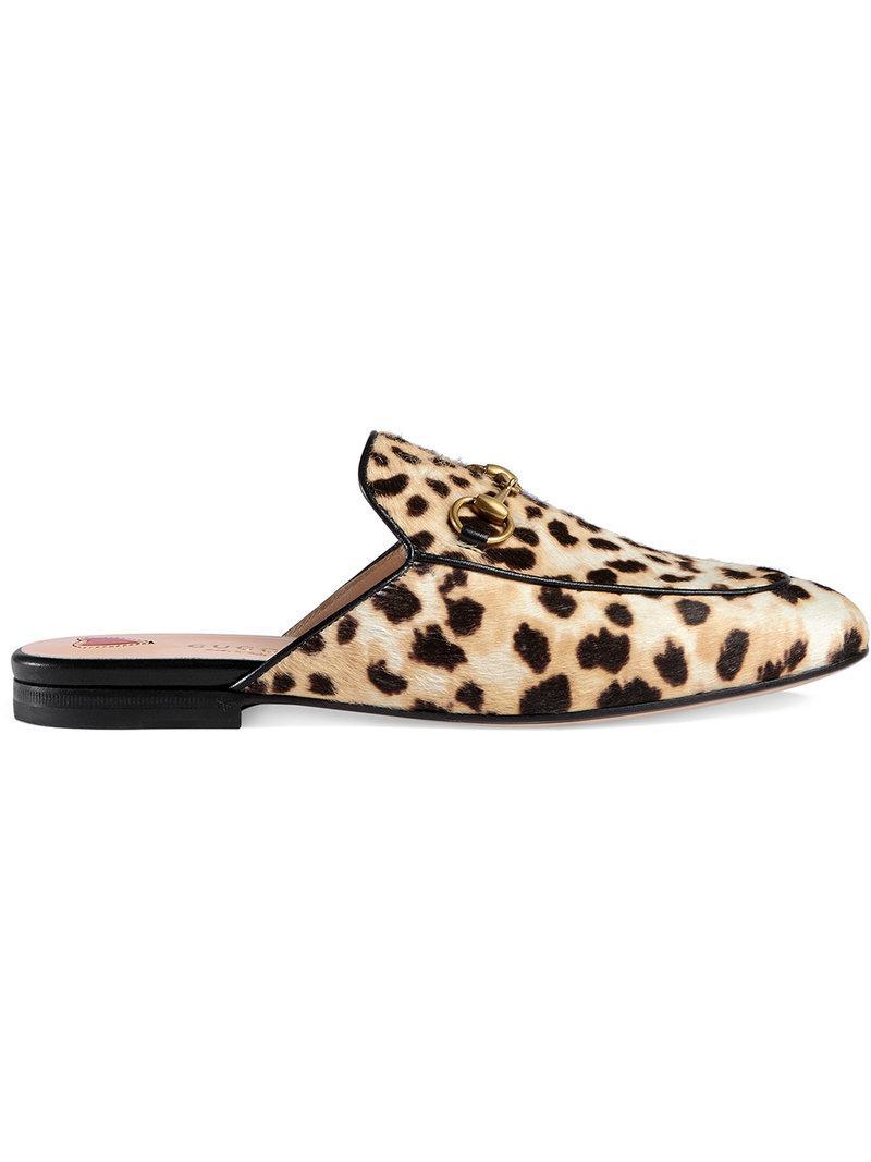 83c0f0bf775 Gucci Princetown Leopard Calf Hair Slipper - Lyst