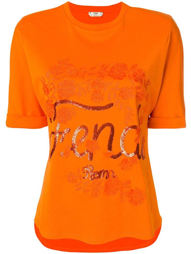 b5240f67 Lyst - Fendi Logo Embroidered T-shirt in Yellow