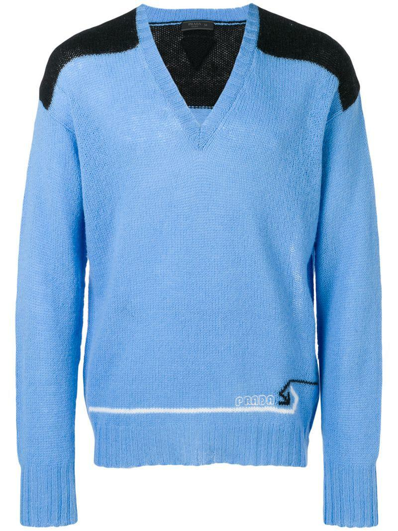 f99ef5df4 Lyst - Prada Knit Panelled V-neck Sweater in Blue for Men