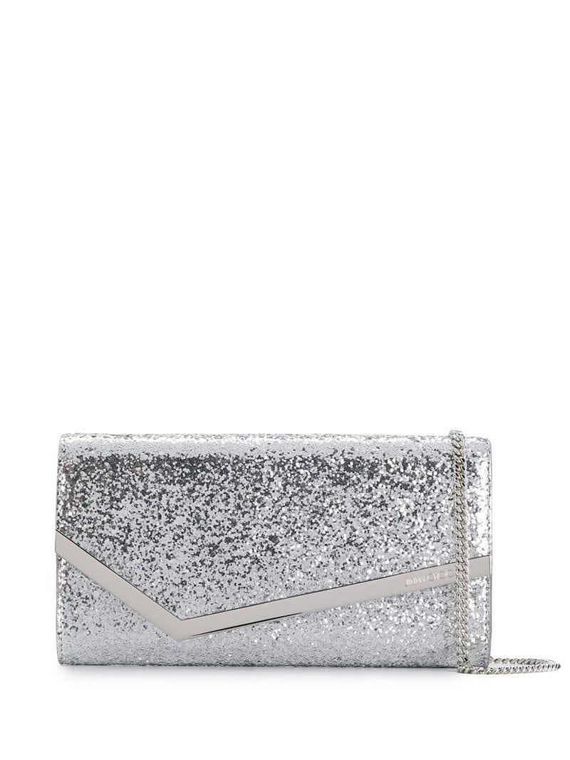 0516973a11 Lyst - Jimmy Choo Emmie Glitter Clutch Bag in Metallic