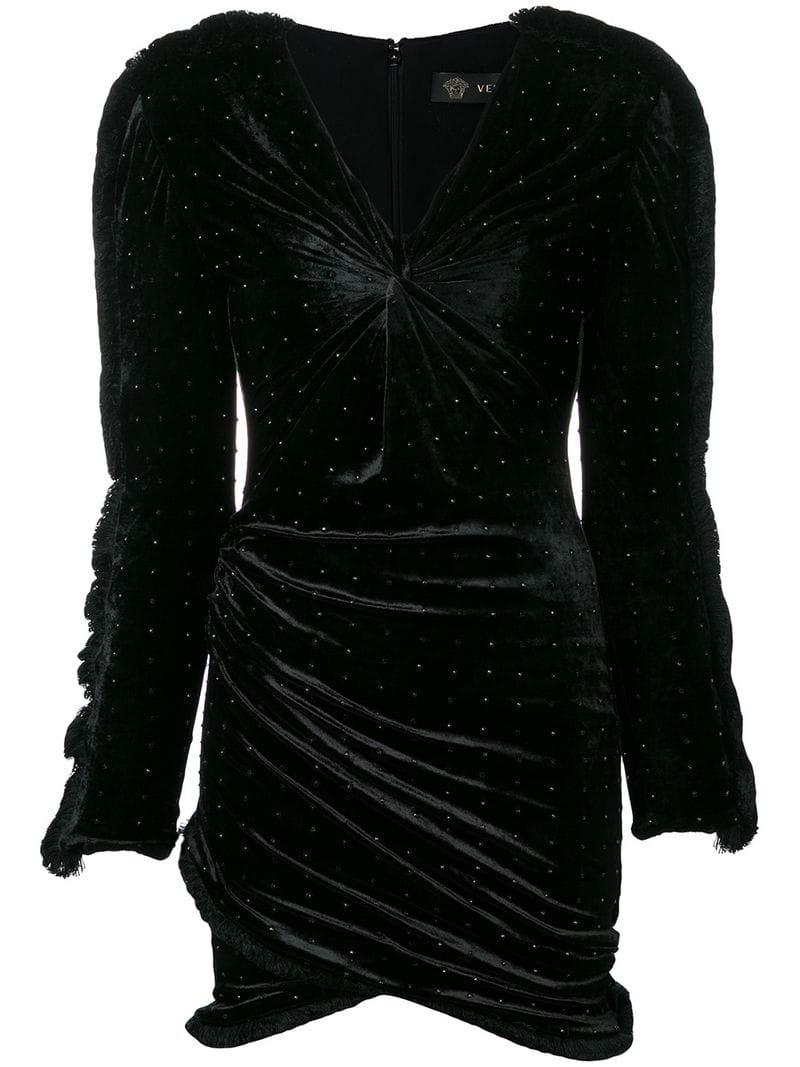 5a99eed4615 Versace Cocktail Velvet Dress in Black - Lyst