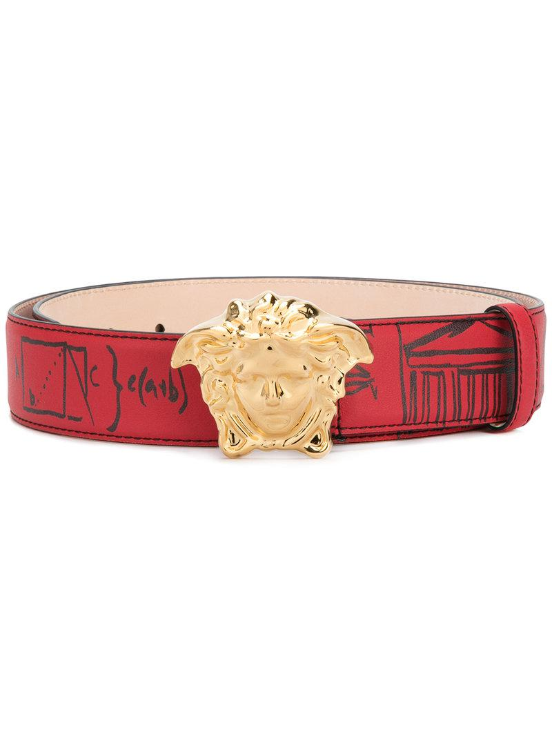 b6b74e3a05 ... coupon code for versace medusa buckle belt in red for men lyst 45bd6  e43ca