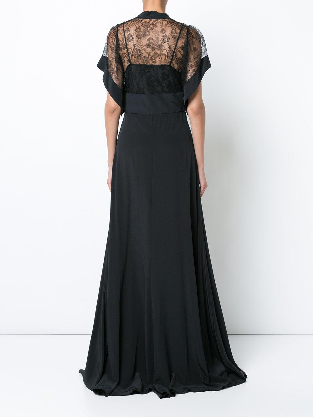 Factory Outlet lace detail gown - Black Rochas Outlet Discount Io2Zg