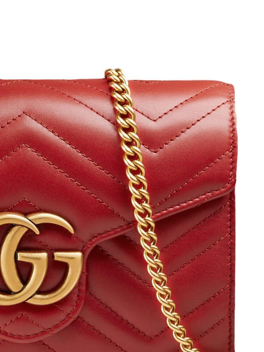 a78f2c746b0 Lyst - Gucci Mini GG Marmont Matelassé Bag in Red
