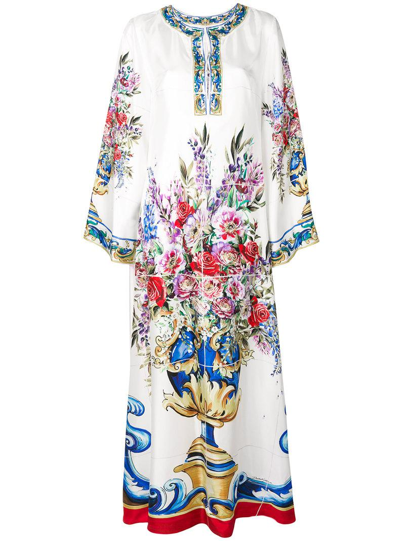ba13f84bac Dolce   Gabbana Majolica Print Kaftan Dress in White - Lyst