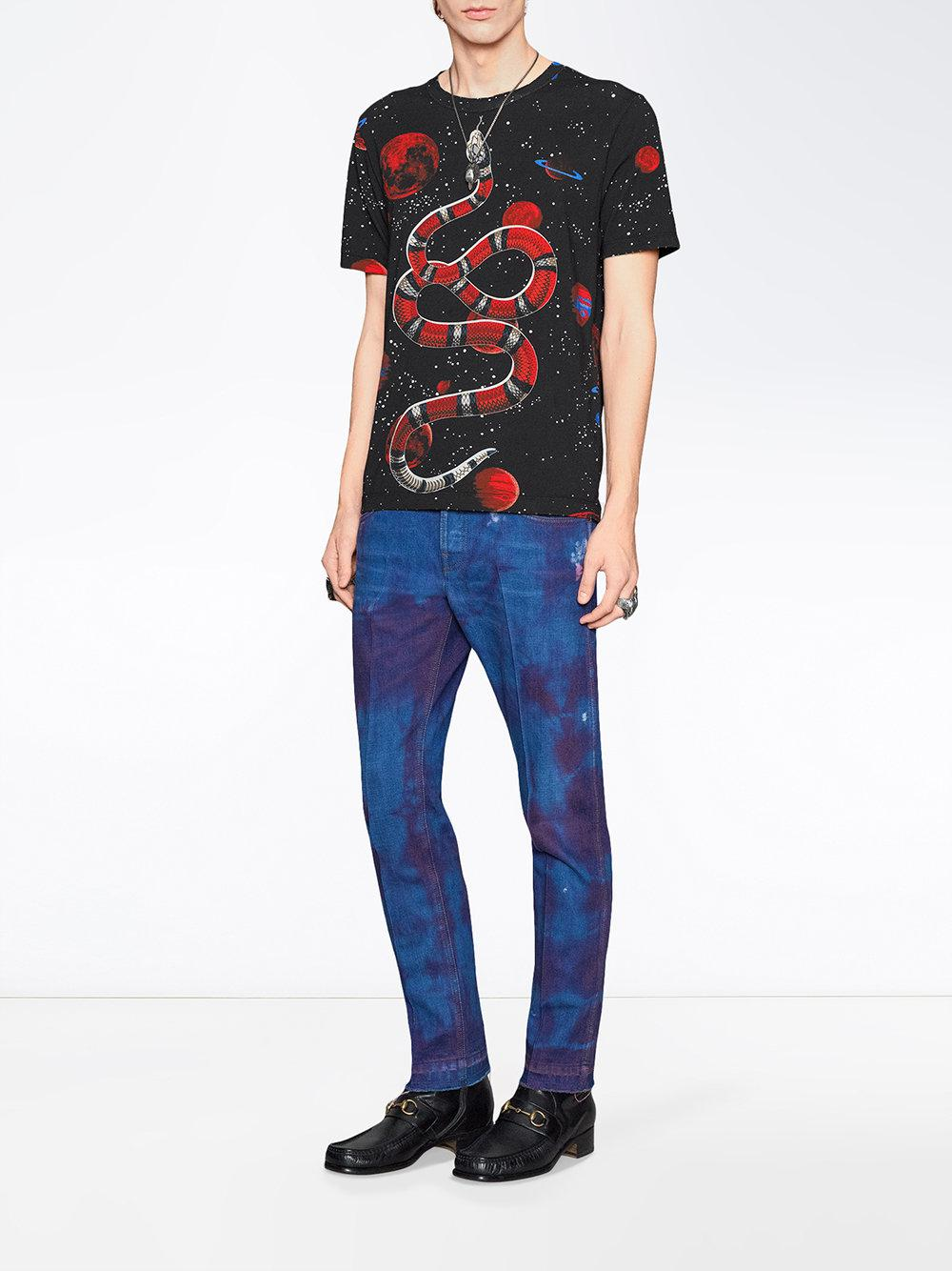 92f360ce495 Lyst - Gucci Space Snake-print Cotton T-shirt in Black for Men