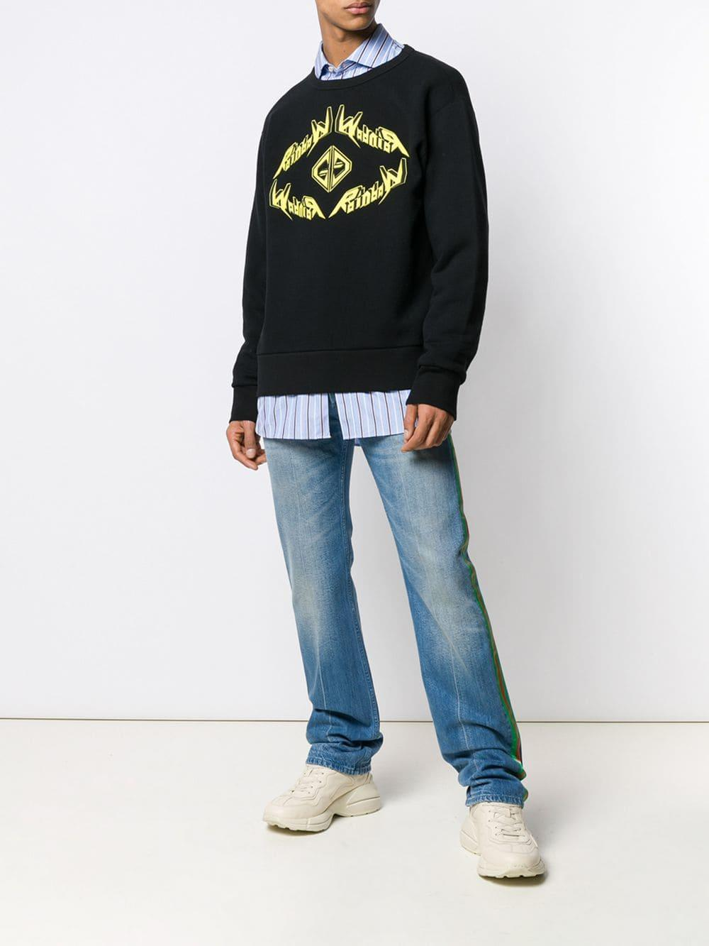 32f8b0f1bdd Lyst - Gucci Rainbow Graphic Logo Sweatshirt in Black for Men