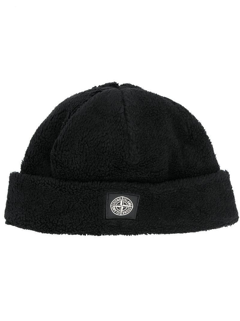 Stone Island Short Rolled Beanie in Black for Men - Lyst 5db74e068c28
