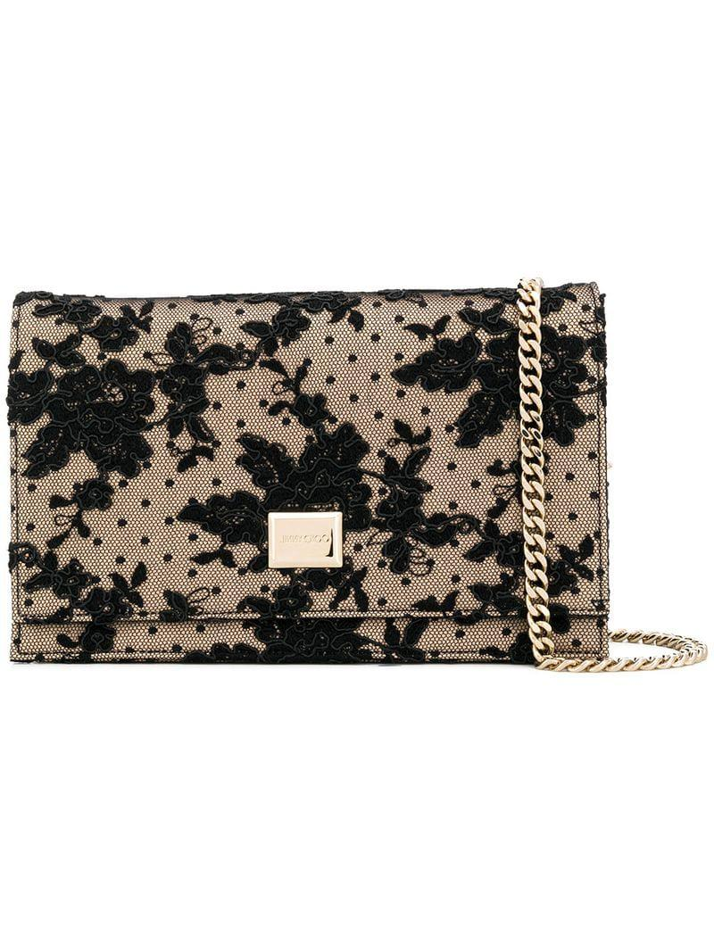 0873a4ad36 Lyst - Jimmy Choo Lizzie Lace Clutch Bag in Black