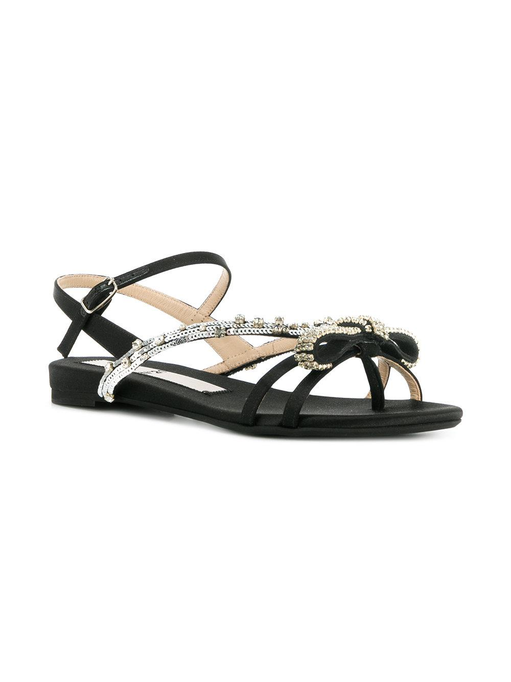 embellished knotted sandals - Metallic N°21