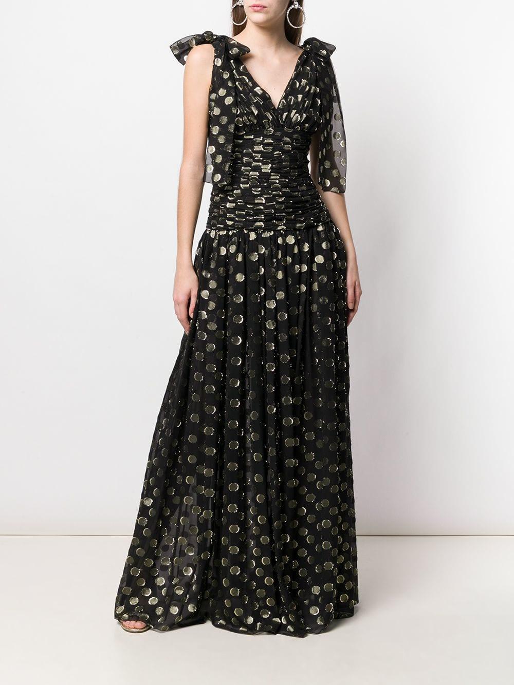 a4404dcc Lyst - Dolce & Gabbana Metallic Spot Print Evening Dress in Black - Save 21%