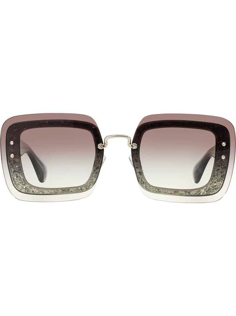 039613c4179 Miu Miu Reveal Glitter Sunglasses in Gray - Lyst