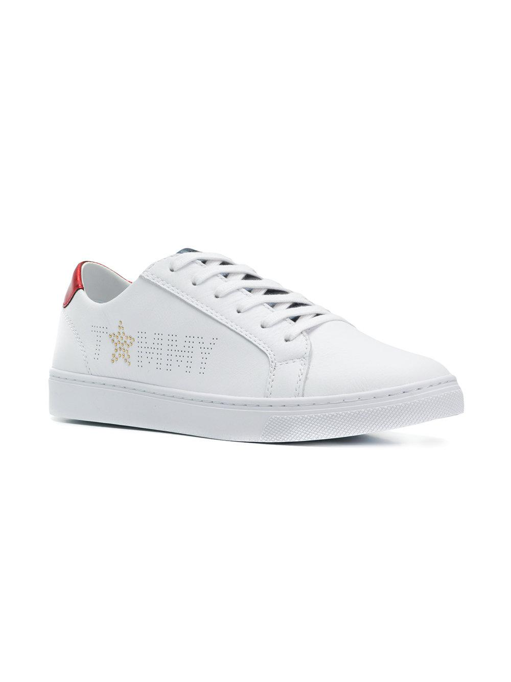b1e547ad9e3e24 Lyst - Tommy Hilfiger Perforated Logo Sneakers in White