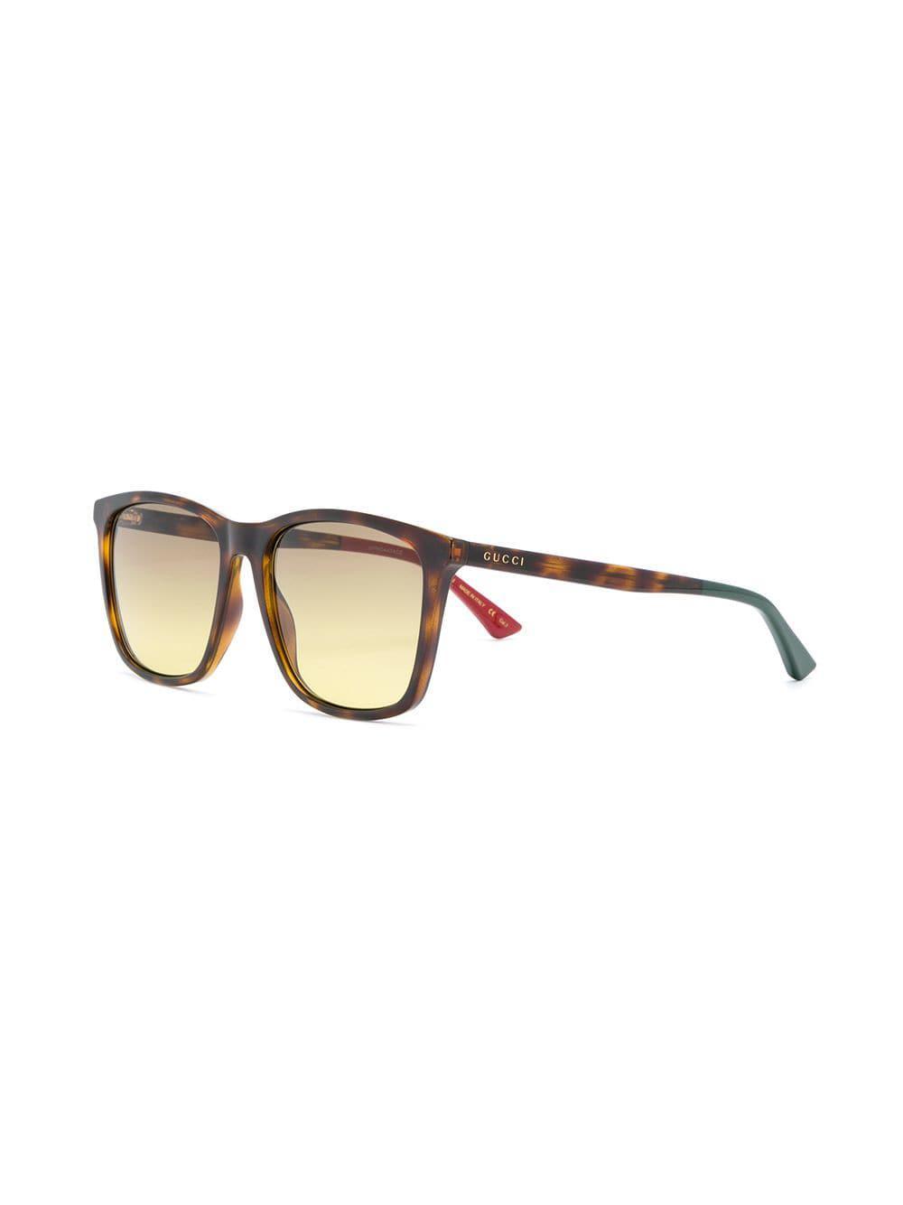 1cb7f368014 Gucci Square Tinted Sunglasses in Brown - Lyst