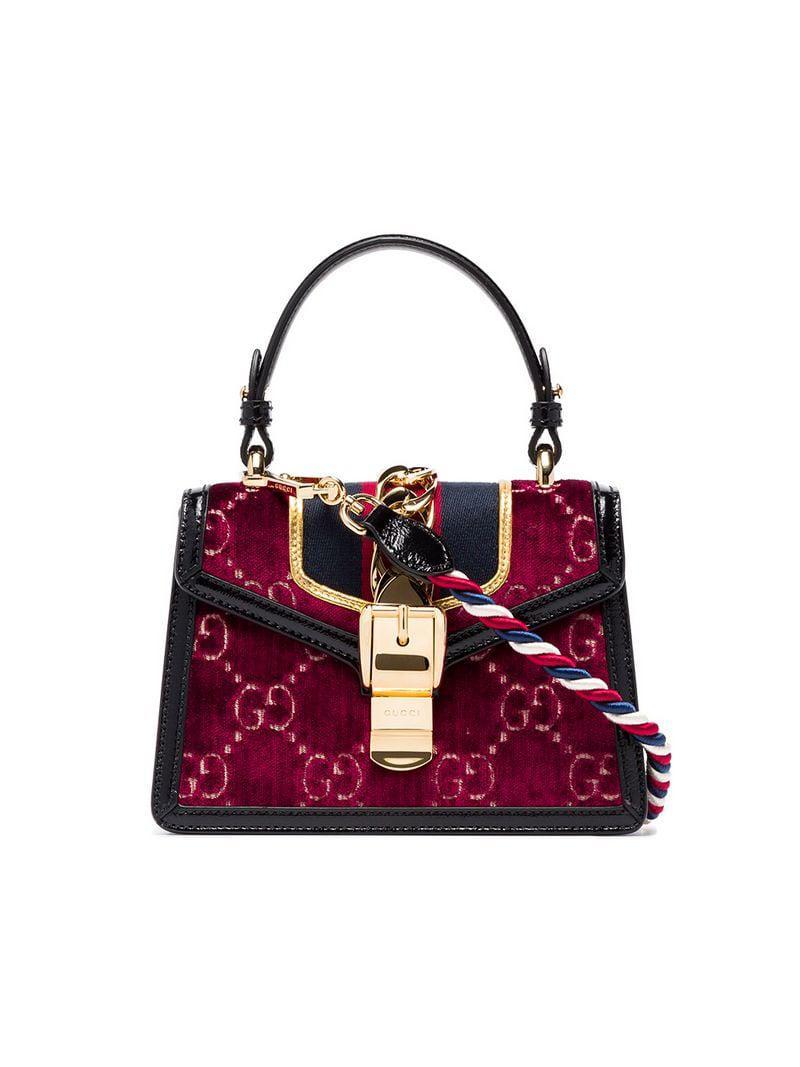 4b5d669a12c0 Lyst - Gucci Multicoloured Sylvie Mini Logo Velvet And Leather ...
