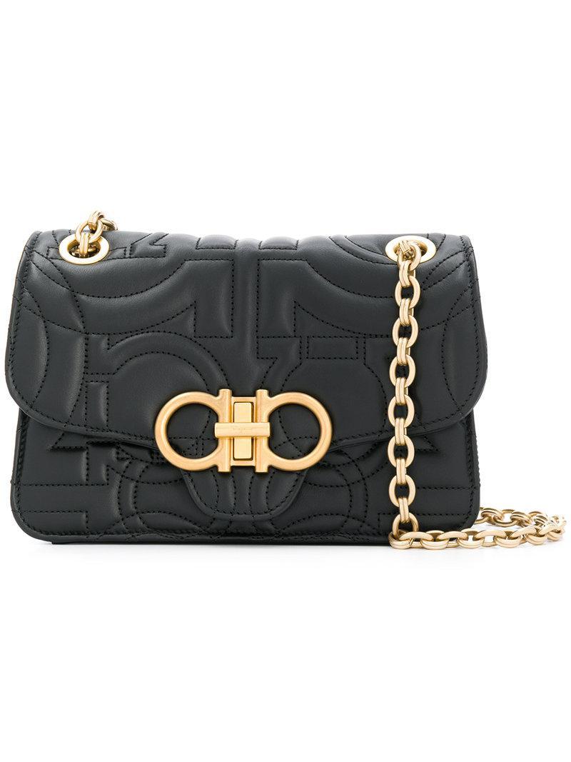 Ferragamo Gancio Quilted Leather Bag in Black - Lyst ca4a40a2b2e4b