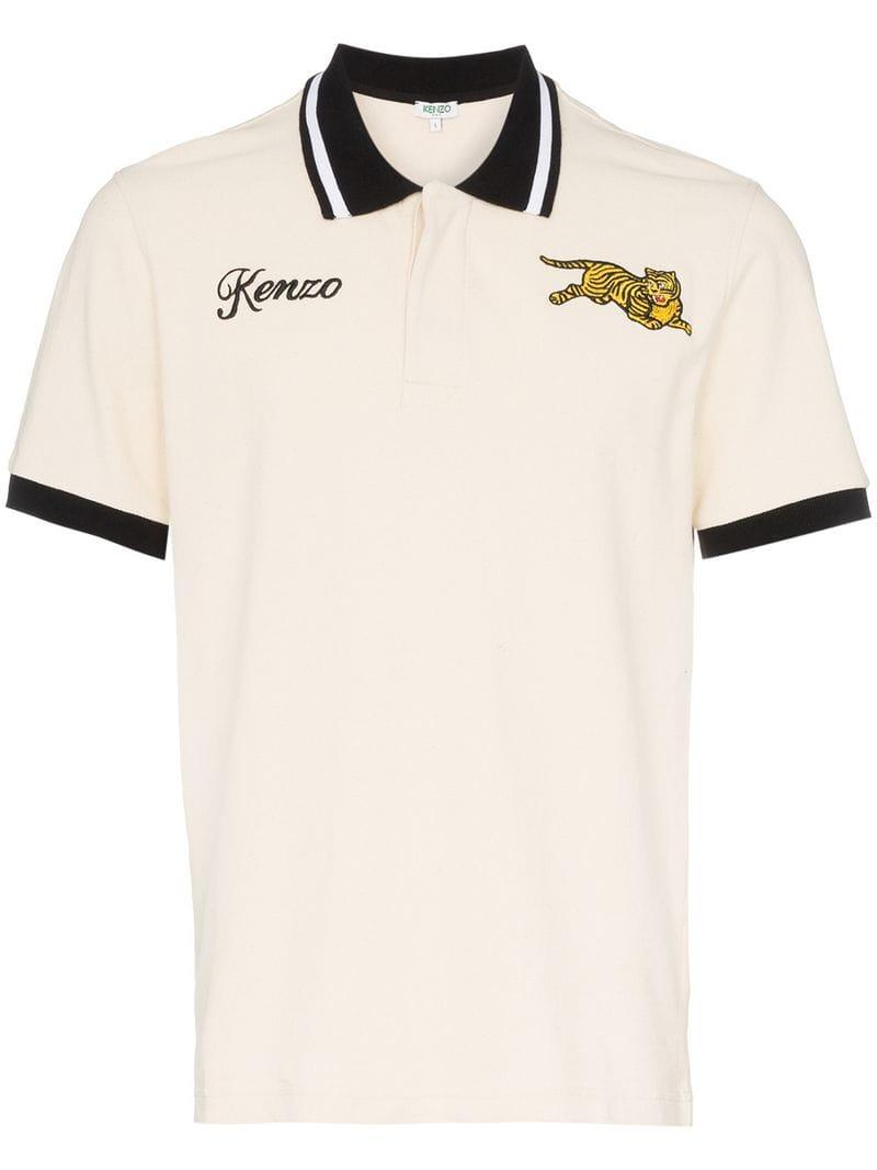 9d2e9205 KENZO Embroidered Jumping Tiger Contrast Trim Cotton Polo Shirt for ...