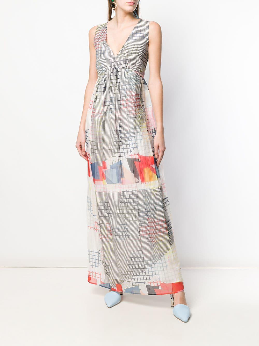 7b1f61d4f03a Lyst - Emporio Armani V-neck Geometric Print Dress in White