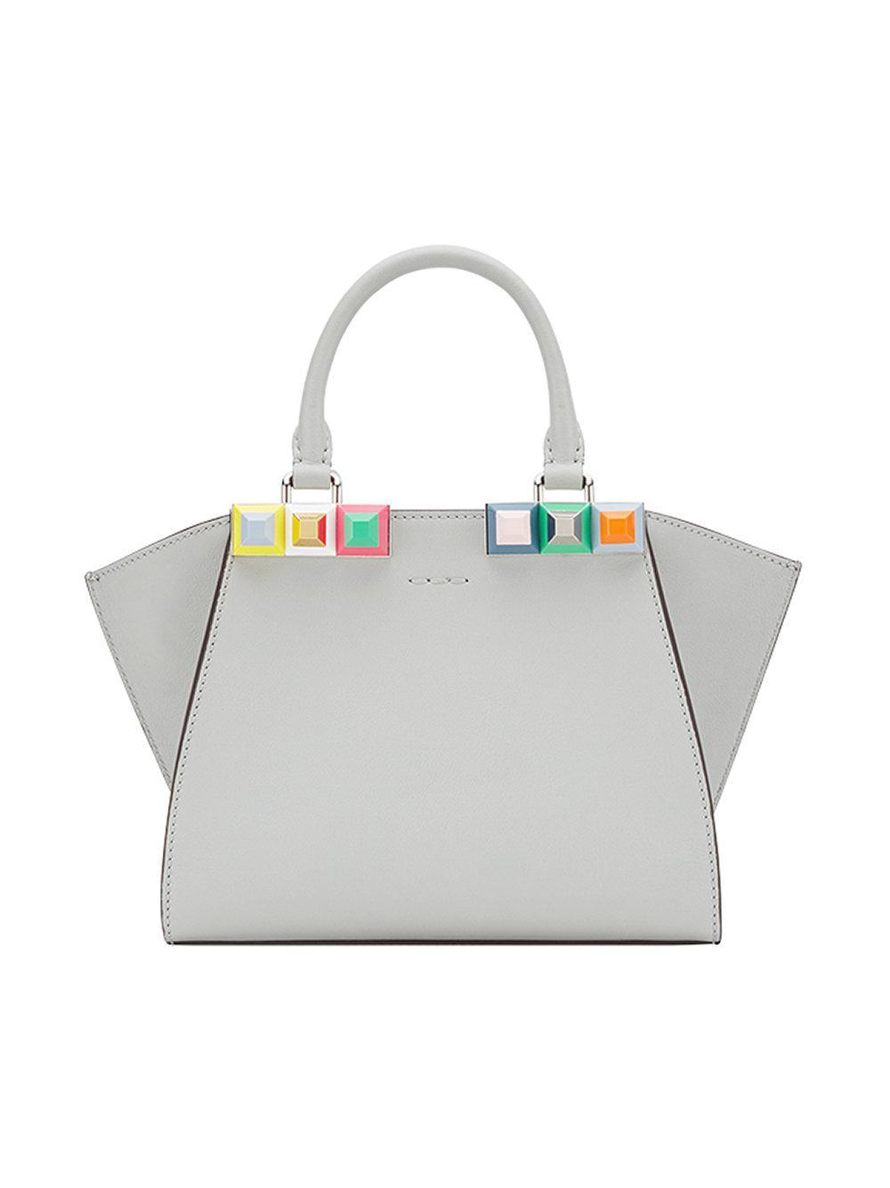 Lyst - Fendi Studded 3jours Mini Bag in Gray 121050fbe3dda