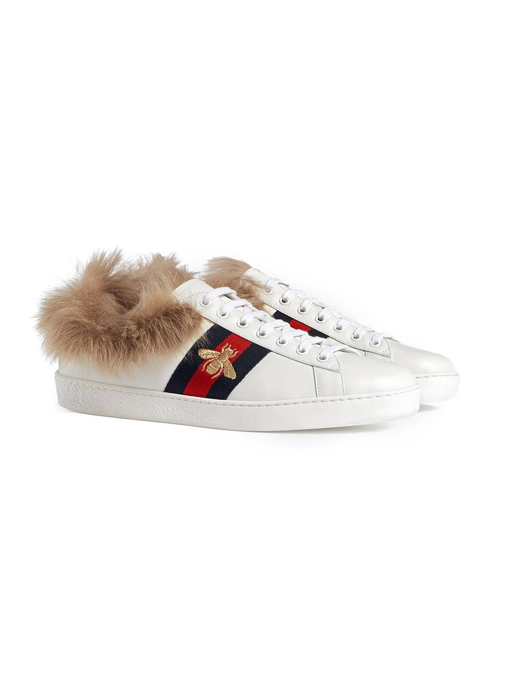 0a29a4439c3 Lyst - Gucci Ace Sneaker With Fur in White for Men
