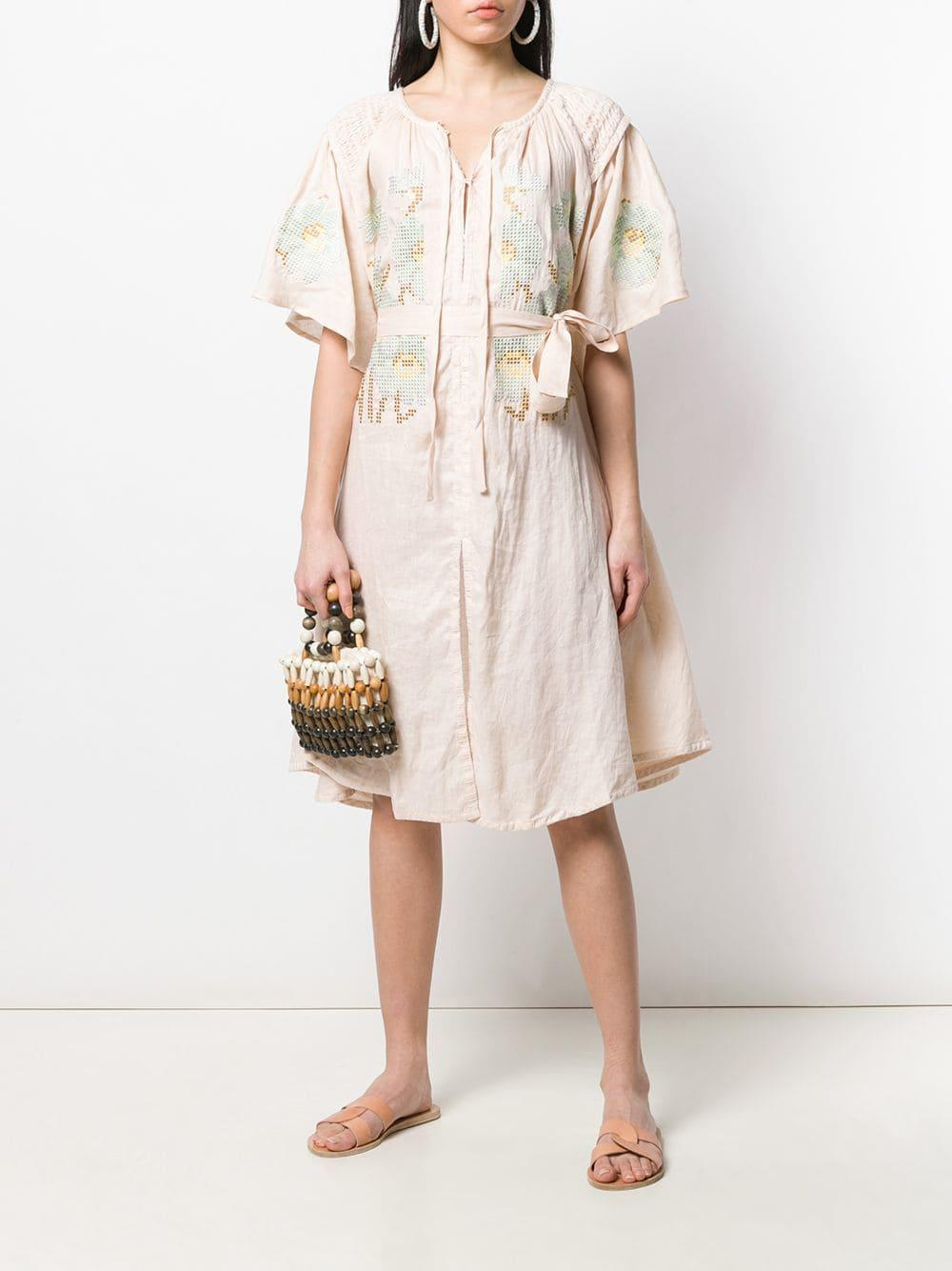 50688200a1b Lyst - Innika Choo Embroidered Midi Smock Dress