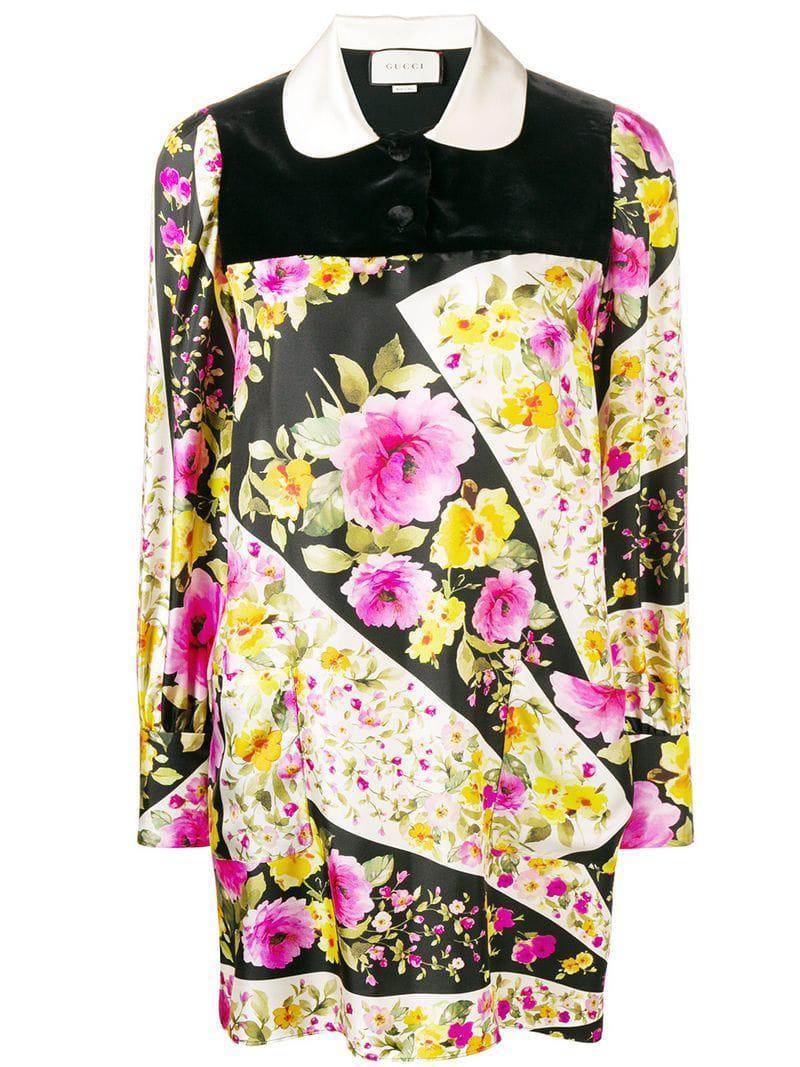 0c7227fac7b Gucci Floral Silk Dress in Black - Lyst