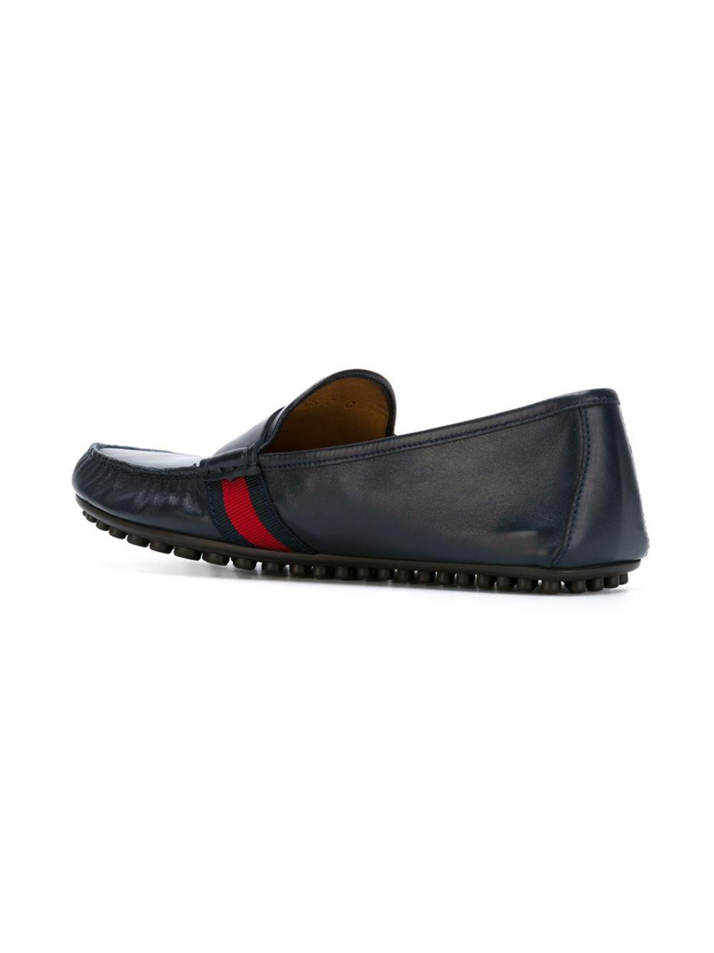 fb2be09fc Gucci 'bee Web' Driving Shoes in Blue for Men - Lyst