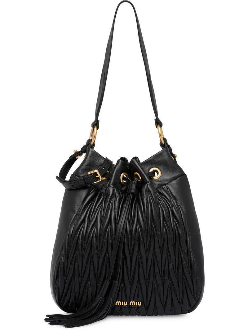 d1ed460608ac Miu Miu - Black Matelassé Leather Bucket Bag - Lyst. View fullscreen