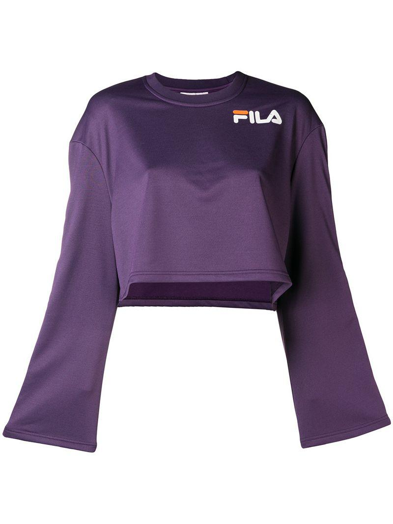 1b56a7ecc220 Fila Sleeve Popper Purple In Sweatshirt Lyst xaPAqxBw
