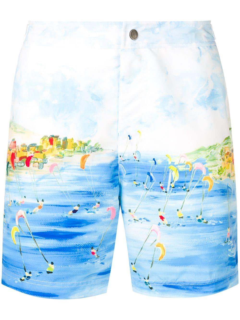 2af376a247 Ermenegildo Zegna Kitesurf Print Swim Shorts in Blue for Men - Lyst