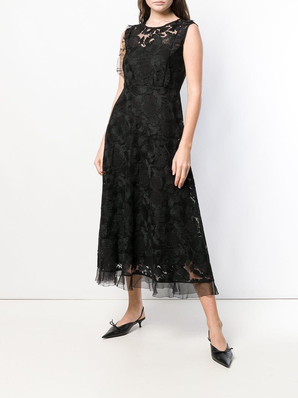 aee13514816 Lyst - Red Valentino Lace Midi Dress in Black