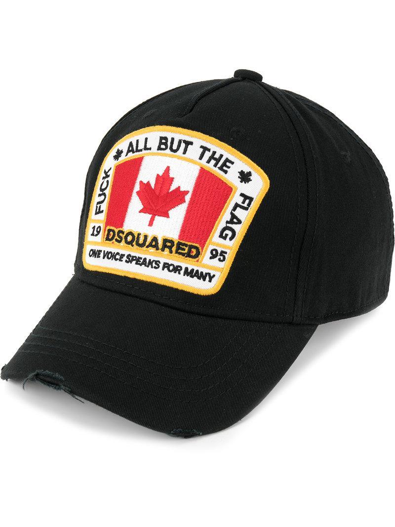 43c0f03ea2c6f DSquared² Canadian Flag Patch Baseball Cap in Black for Men - Lyst