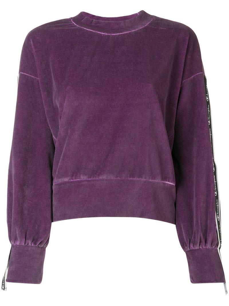 Champion À Bande En Logo Coloris Sweat Velours Violet Lyst Yw6qpT4