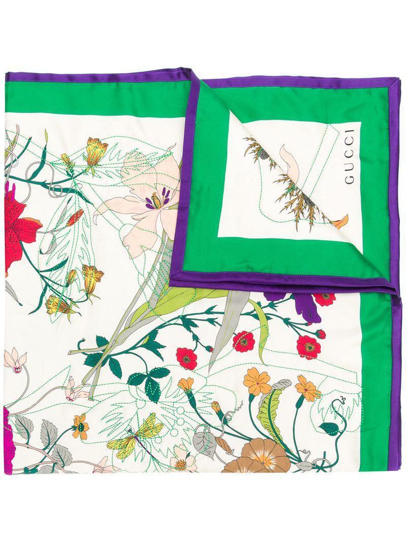 f8663b093 Gucci Floral Print Silk Scarf in White - Lyst