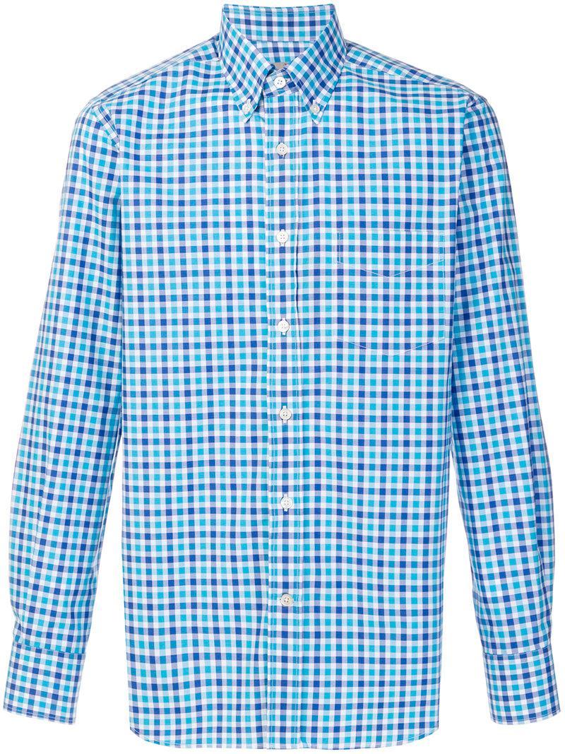 Canali. Men's Blue Checked Button-down Shirt