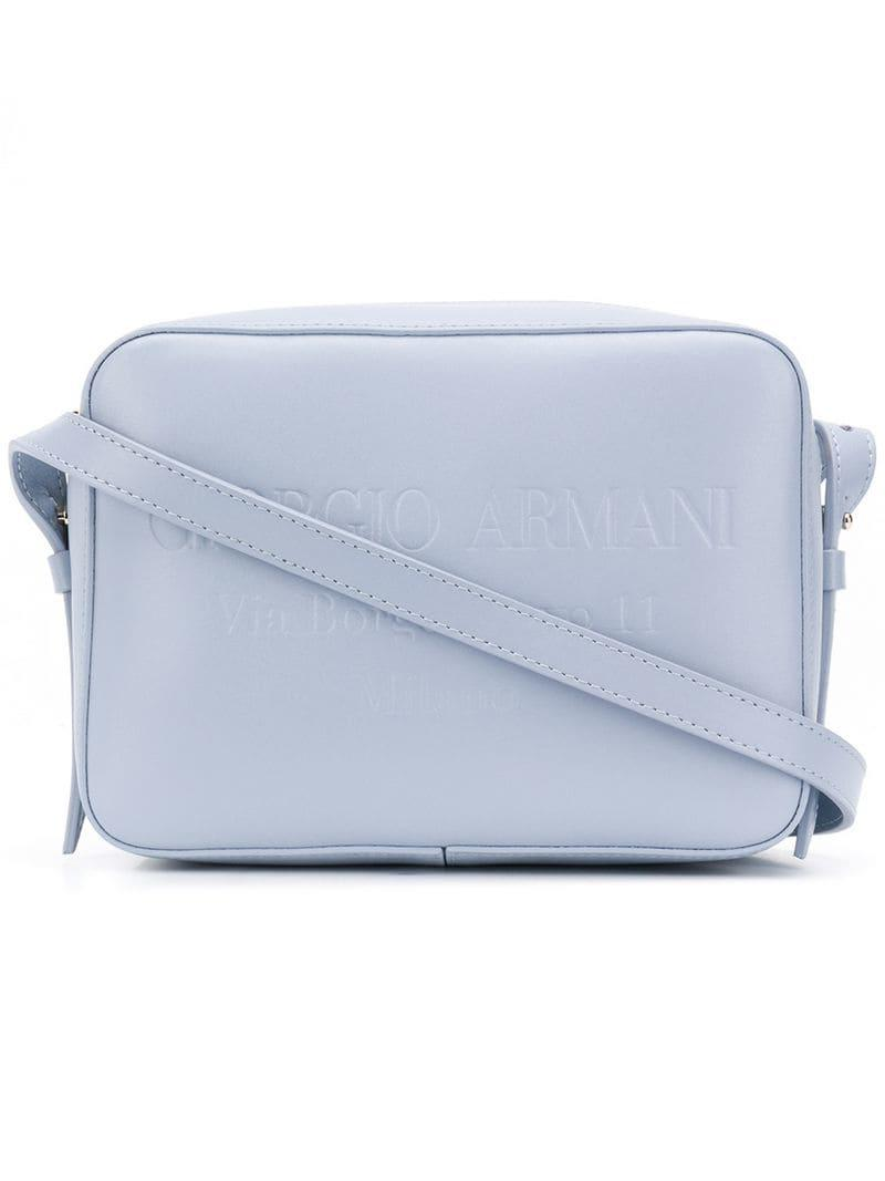 Giorgio Armani Embossed Logo Shoulder Bag in Blue - Lyst 9d8ac1a816