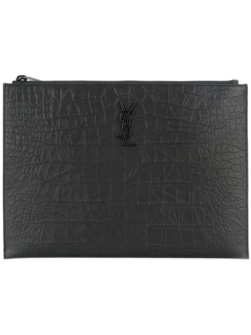 fee2886638 Saint Laurent Monogram Zip Pouch in Black for Men - Lyst