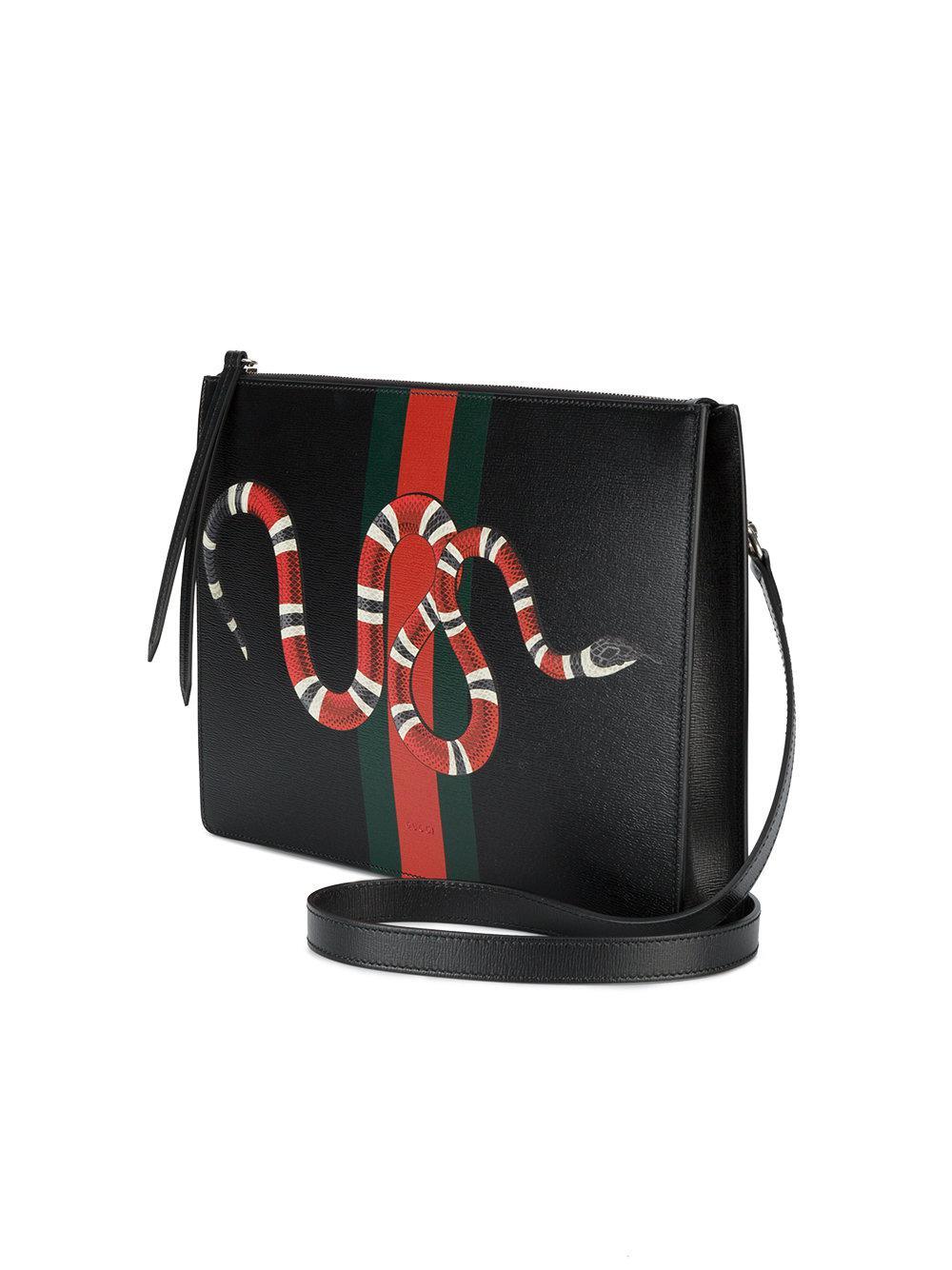 1d867daf0d3452 Gucci Web And Snake Messenger Bag in Black for Men - Lyst