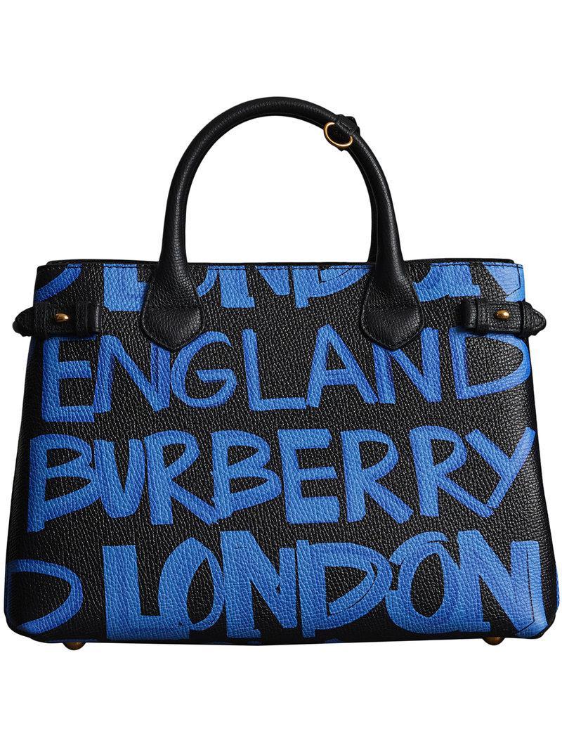 7b0f420caf Lyst - Burberry The Medium Banner In Graffiti Print Leather in Black