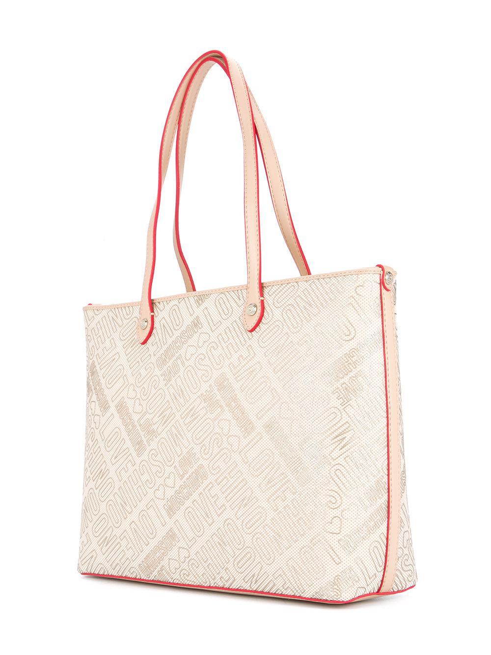 Acheter Pas Cher Boutique Pour Amour Logo Moschino Print Fourre-tout Shopper - Nu & Tons Neutres Coût De Sortie Parcourir Pas Cher MKZXFe
