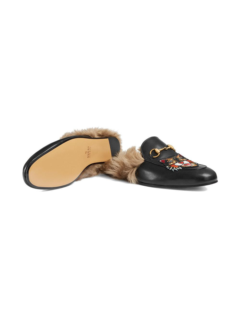 d3439faa51b Gucci - Black Princetown Slippers With Angry Cat Appliqué for Men - Lyst.  View fullscreen